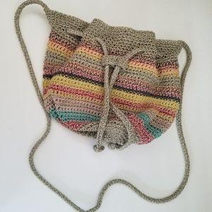 The Sak woven rainbow crossbody bucket bag